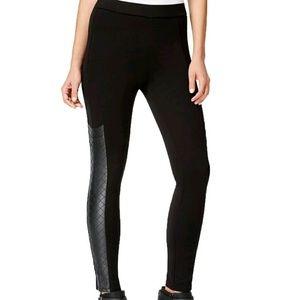 Tinseltown Pants - Tinsel Town Black Faux Leather Panel Legging