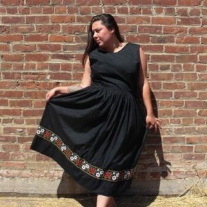 X-Large Plus Size Vintage 1950's black dress