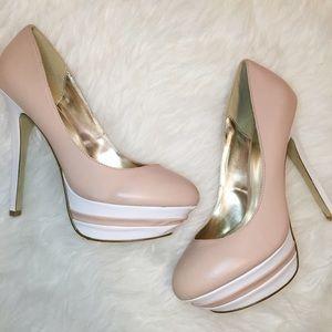 Cream/Light Pink & White Pumps