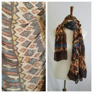 Brown Patterned Sheer Scarf