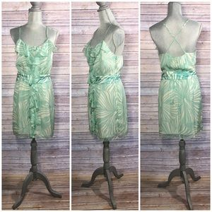 Milly Dresses & Skirts - {Milly} Mint Floral Hibiscus Ruffle Dress
