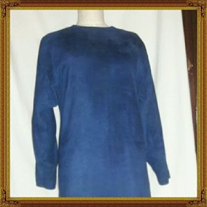ARGENTI  Blue Suede Sheath Dress
