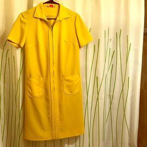 Sunshine yellow vintage 60s mod dress - Small