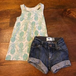 Old Navy Other - Bundle 12-18 months pineapple tank & denim shorts