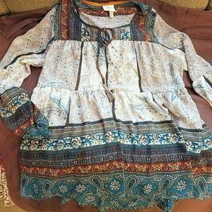 Boheme Tops - Rose Knox boho peasant blouse ivory teal EUC m