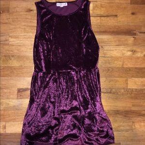 Velvet burgundy dress.