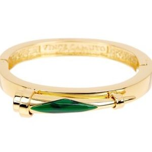 Vince Camuto Jewelry - Vince Camuto Green Inlaid Horn Hinge Bangle