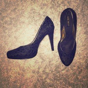 Nine West Black Lace Heels