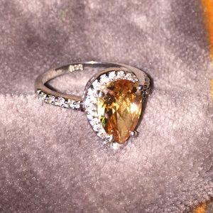 Sterling Silver Jewelry - Sterling Silver ring w/ Topaz rhinestone tear drop