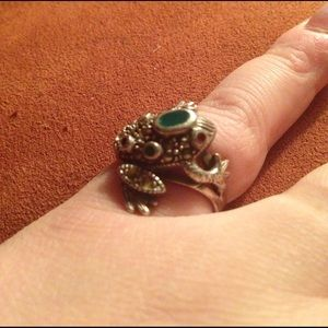 Sterling Silver, Emerald, & Ruby Frog Ring