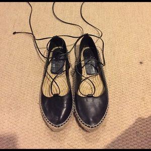 Zara black lace up espadrilles