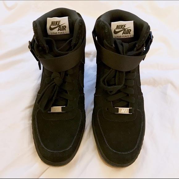 Nike Lunar Force 1 Sky Hi Black Wedge Sneakers NWT