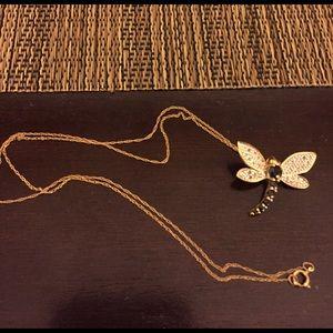 10k Gold Dragonfly Blue Sapphire/Diamond necklace