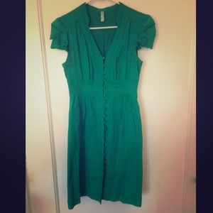 Anthropologie green seersucker cotton dress