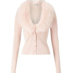 Pink Ribbed Fur Cardigan