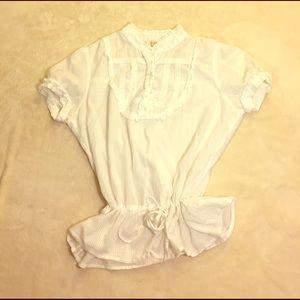 Andrew & Co Tops - 100% cotton striped burnout blouse