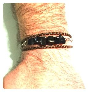 Men's leather wrap bracelet with blue tigers eye