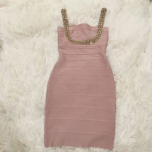 Gorgeous blush bandage dress
