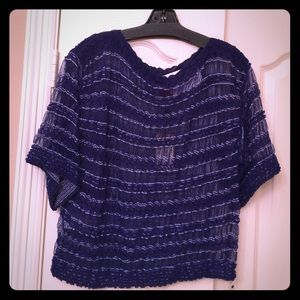 Missoni Tops - Missoni Royal Blue and Silver Knitted Top 42/8