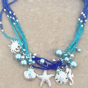Silver Tone Blue Multi Strand Beach Nautical Neck