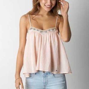 American Eagle Outfitters Tops - flowy beaded pink tank