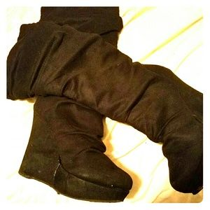 Shoes - Venus slouchy high wedge black mock suede boots