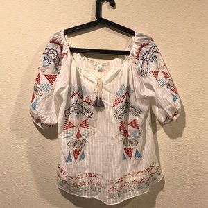 chicwish Tops - NWOT Linen gauze embroidery peasant top