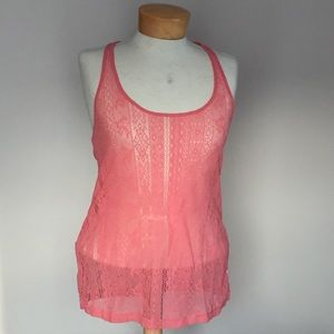 aerie Tops - 🆕 Aerie Pink lace tank top. Size medium.