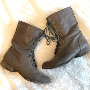 Breckelles Shoes - Breckelles Taupe Lace Up Combat Boots