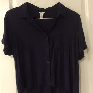 Forever 21 Navy Blue High-Low Shirt
