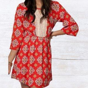 Peach Love California Dresses & Skirts - Lace Panel Printed Dress