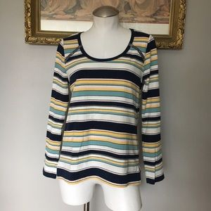 Anthropologie Striped Knit 3/4 Sleeve Top