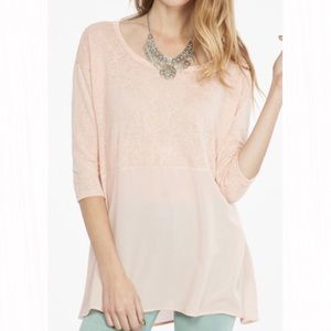 Peach Love California Tops - Knit Top with Sheer Lower Half
