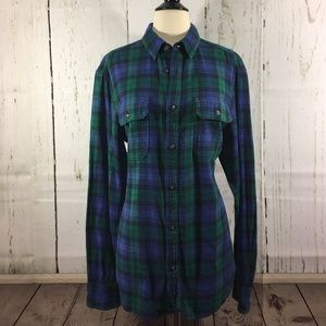 Sonoma Green and Blue Plaid Flannel Shirt