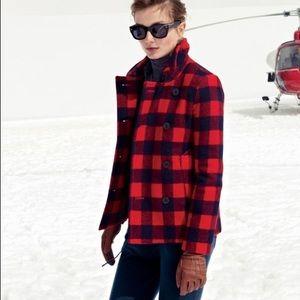 J. Crew Jackets & Blazers - 🆕J Crew Buffalo Check Wool Peacoat Coat Navy Red