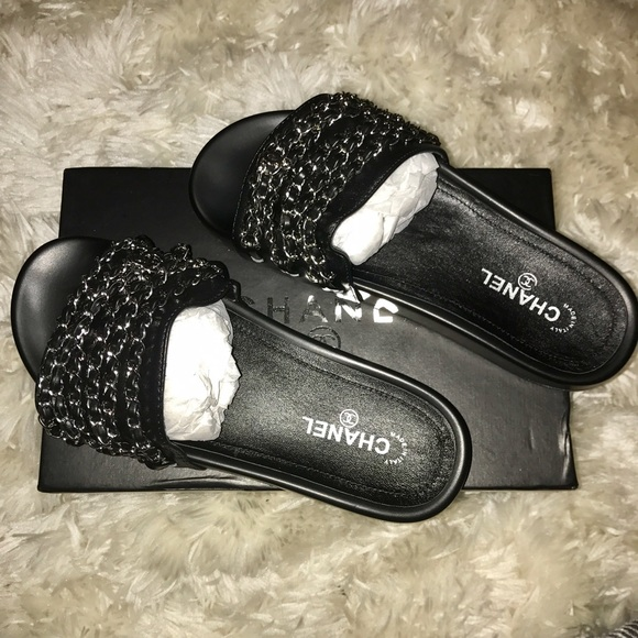 chanel slides. chanel shoes - brand new chanel chain slides