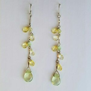 Green + Yellow Teardrop Charms Dangling Earrings