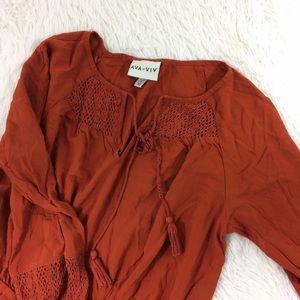 AVA+VIV burnt orange long sleeve dress