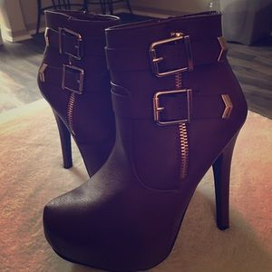 Burgundy Heeled Booties