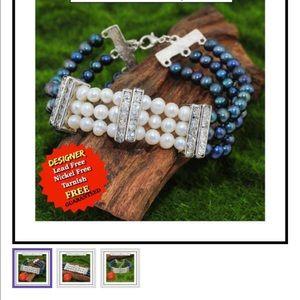 Jewelry - 2 Tone Freshwater Pearl High Polish Bracelet