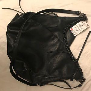 Genuine leather Zara shoulder bag with gunmetal