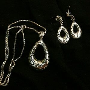 Jewelry - ❤ Silver Necklace with pendant and earings set.