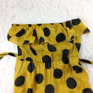ANTHROPOLOGIE mustard yellow +polkadot dress