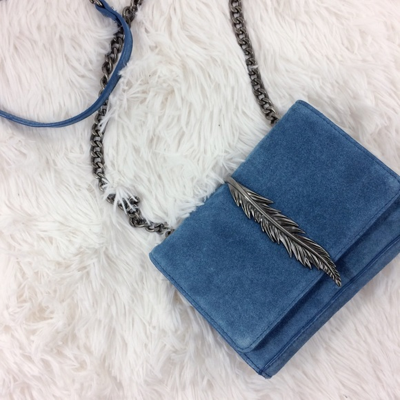 Zara Bags - HP✨ZARA blue leather+metal detail crossbody bag