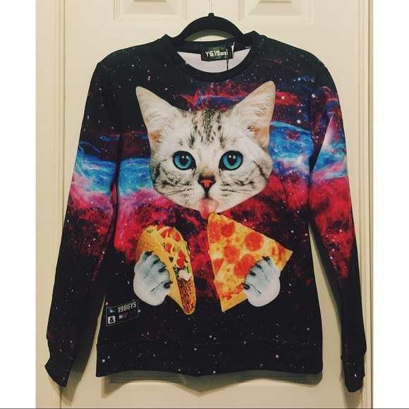 Pizza Cats in Space Womens Crop Top Shirt Cropped Hoodie Sweatshirt