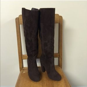 Brown Suede Bamboo Tall Knee High Boots Size 6🌷