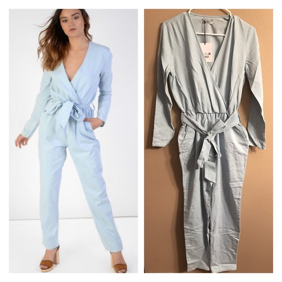 473efd79b077 Chambray wrap jumpsuit