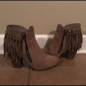 Breckelles Shoes - Taupe fringe boots