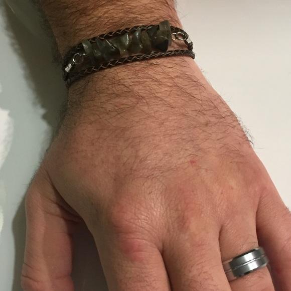 olive dayne designs Accessories - Men's labradorite leather wrap bracelet