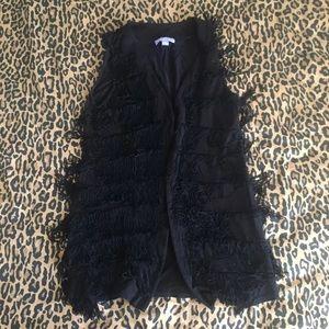 Vivienne Tam fringe vest black womens size medium